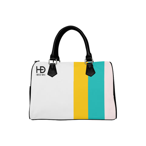 HEED NYC Classic White & F20 Stripe Boston Bag
