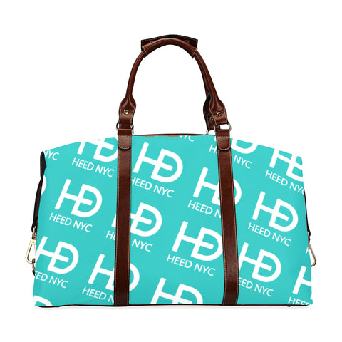 HEED NYC Tiffany Blue All Over White Logo Traveler Bag Classic Travel Bag (Model 1643) Remake - HEED NYC