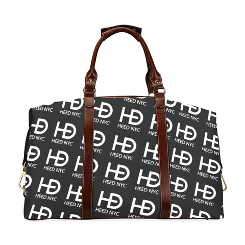 HEED NYC Classic Black & White All Over Logo Traveler Bag