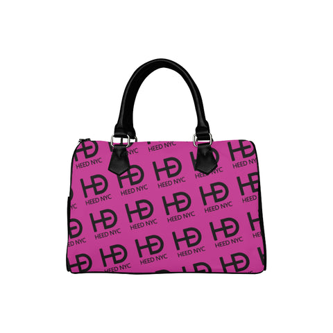 HEED NYC Classic Hot Pink & Black All Over Logo Boston Bag - HEED NYC