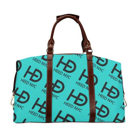 HEED NYC Classic Tiffany Blue & Black All Over Logo Traveler Bag