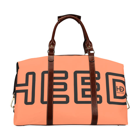 HEED NYC Coral & Black Traveler Duffle Bag Classic Travel Bag (Model 1643) Remake - HEED NYC