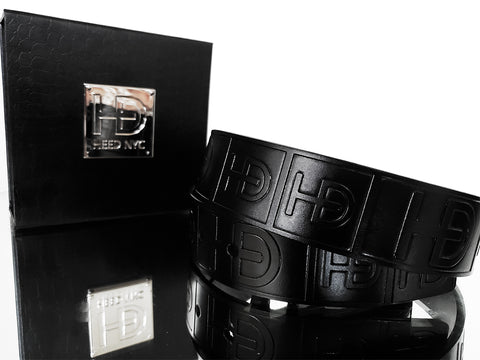 "HEED NYC Classic Black Genuine Leather ""HD"" Embossed Belt - HEED NYC"
