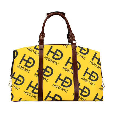 HEED NYC Classic Canary Yellow & Black All Over Logo Traveler Bag