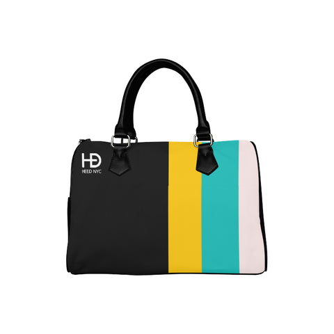 HEED NYC Classic Black & F20 Stripe Boston Bag