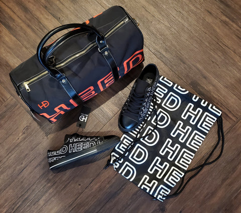HEED NYC OTL Black & Blood Orange Mini Duffle and Black & White Sneaker Bundle - HEED NYC