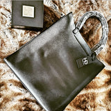 HEED NYC Classic Genuine Leather Black Tote with Silver Nameplate - HEED NYC