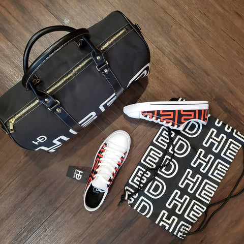 HEED NYC OTL Black & White Mini Duffle and Black & Blood Orange Sneaker Bundle - HEED NYC