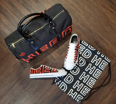HEED NYC Black & Blood Orange Mini Duffle and Sneaker Bundle - HEED NYC