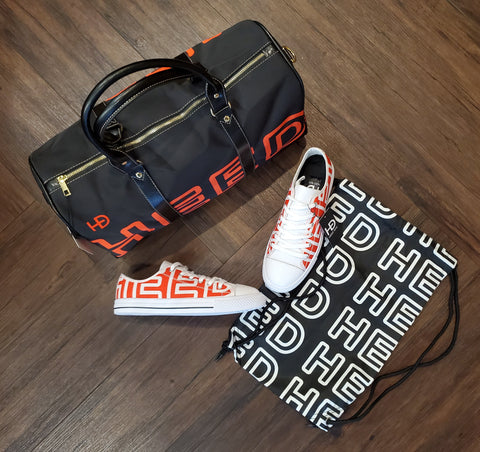 HEED NYC OTL Black & Blood Orange Mini Duffle & Blood Orange & White Sneaker Bundle - HEED NYC