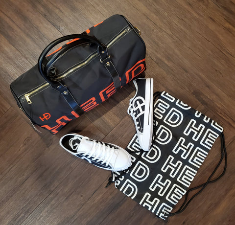 HEED NYC Black & Blood Orange Mini Duffle and Classic Black & White Sneaker Bundle - HEED NYC