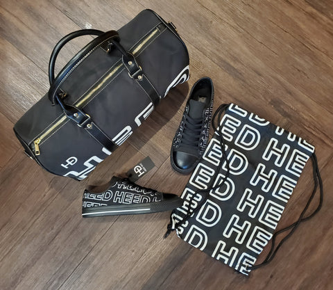 HEED NYC OTL Black & White Mini Duffle and Black Sneaker Bundle - HEED NYC