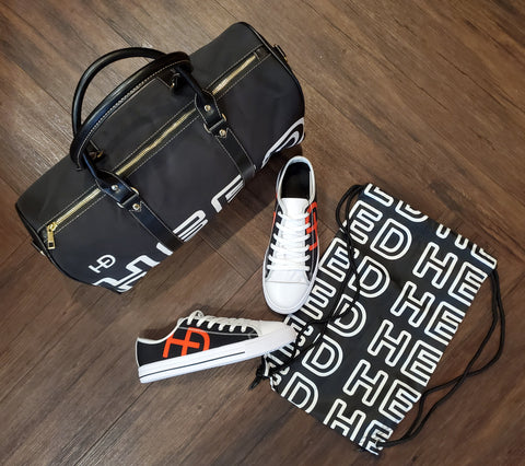 HEED NYC OTL Black & White Mini Duffle and Classic Black and Blood Orange Sneaker Bundle - HEED NYC