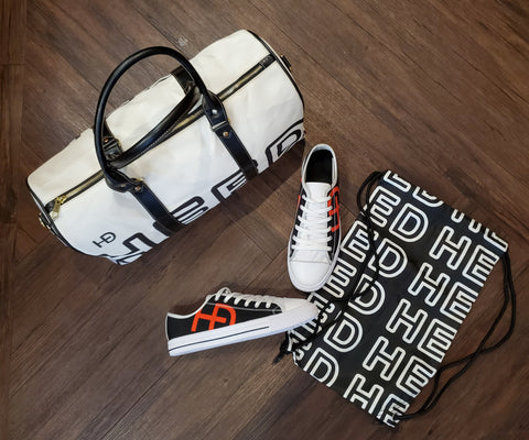 HEED NYC OTL White & Black Duffle Bag and Classic Black & Blood Orange Sneaker Bundle - HEED NYC