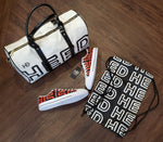 HEED NYC OTL White & Black Duffle Bag and Black & Blood Orange Sneaker Bundle - HEED NYC
