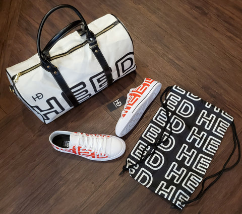 HEED NYC OTL White & Black Duffle Bag and Blood Orange & White Sneaker Bundle - HEED NYC