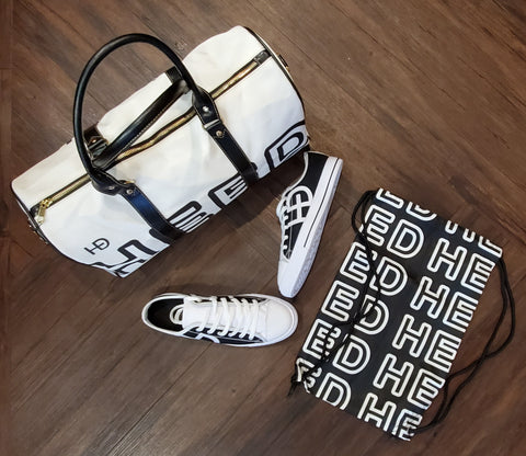 HEED NYC OTL White & Black Mini Duffle and Classic Black and White Sneaker Bundle - HEED NYC