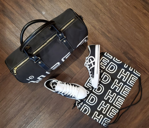 HEED NYC OTL Black & White Mini Duffle and Classic Black & White Sneaker Bundle - HEED NYC