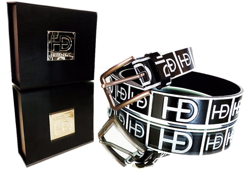 "HEED NYC Classic Black & White Genuine Leather ""HD"" Embossed Belt - HEED NYC"