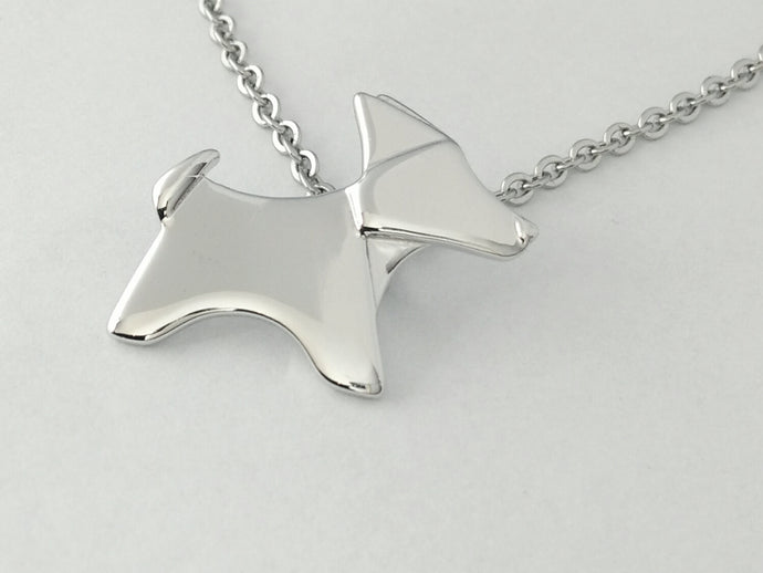 origami corgi dog silver necklace pendant