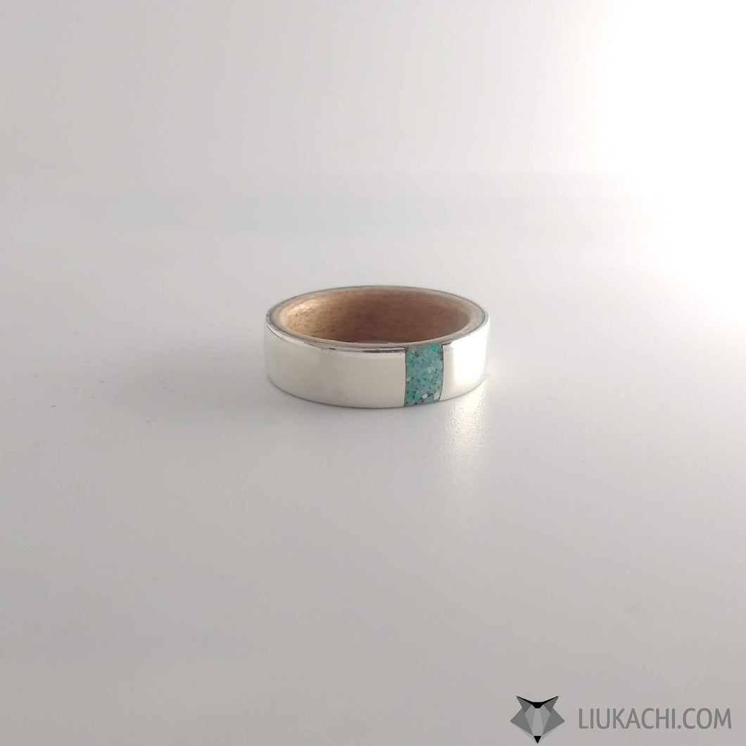 Sterling Silver ring with Maple and Turquoise inlay
