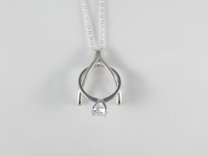 ring holder necklace pendant sterling silver wishbone