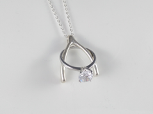 Load image into Gallery viewer, ring holder necklace pendant sterling silver wishbone