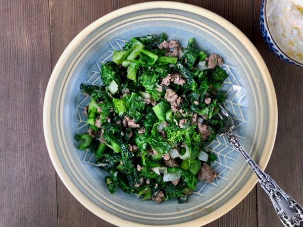 Ground Beef Stir Fry with Mustard Greens and Garlicky Yogurt Sauce