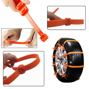 10pcs Universal Anti-skid Tire Wheel Snow Chains for Cars SUV Truck Orange