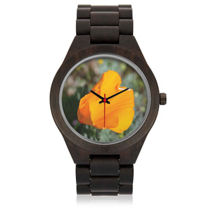 Wooden Watch with California Poppy