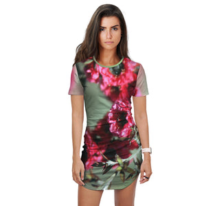 Red Flower Women's long T Shirt - Dress