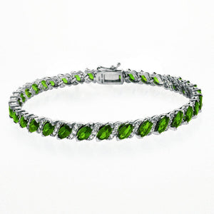 20.00 CT Genuine Emerald Vine Bracelet Embellished with Swarovski Crystals in 18K White Gold Plated