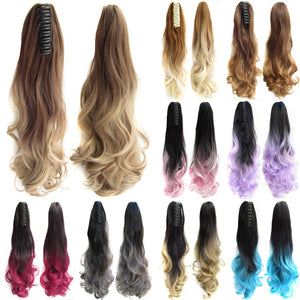 Ombre Wavy Ponytail Synthetic Long Curly Claw - 22 inches