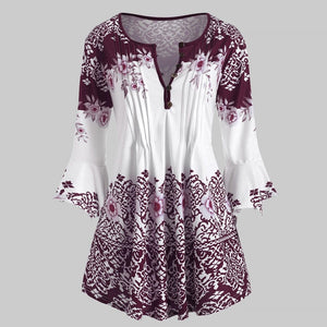 Womens Plus Size Printed Flare Sleeve Tops