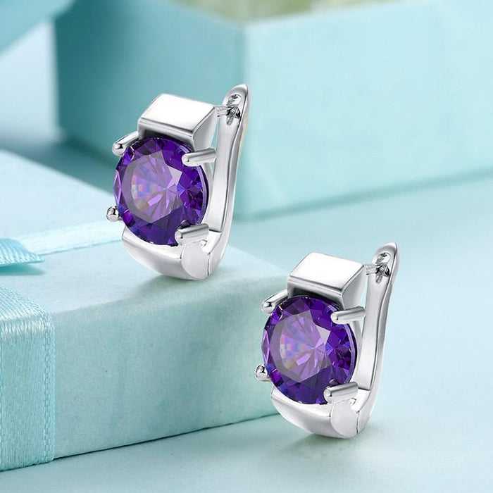 Simulated Amethyst Metallic Leverback Earrings Set in 18K White Gold