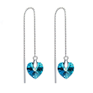 Swarovski Crystals Bermuda Blue Threader Drop  Earring
