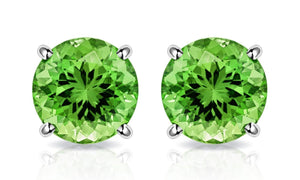 Peridot Created Swarovski Crystal 6mm Stud Earring 14K White Gold Plated - 1.00 CT