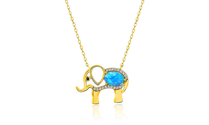 "Opal Created Elephant Necklace with Swarovski Crystals 18"" -  Gold"