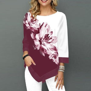 Flower Print Long Sleeve Women's Top