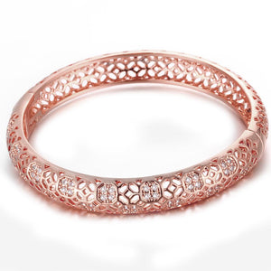 18K Rose Gold Plated Filigree Cut Bangle
