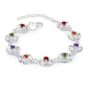 Rainbow Swarovski Clover Shaped Bracelet in 18K White Gold