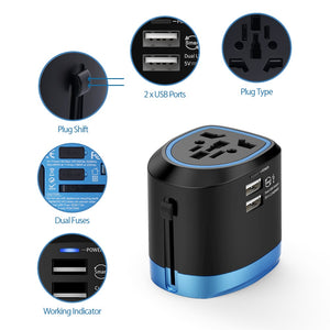Universal Power Adapter with 2 USB Ports Works in 150+Countries