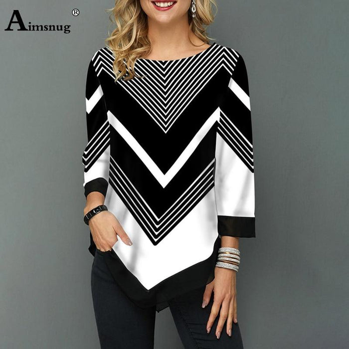 Plus Size Women Print Tops