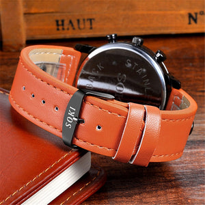 Luxury Sport Watch Leather Strap