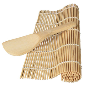 Bamboo Sushi Rolling Mat with a Rice Paddle