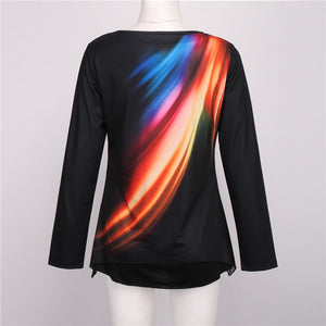 Colorful Casual Women Long Sleeve Blouse
