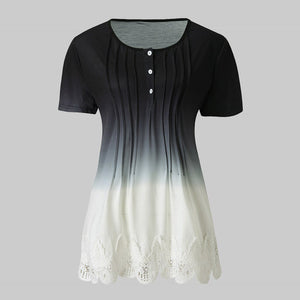 Women Casual Lace Printed Button  Short Sleeve Top