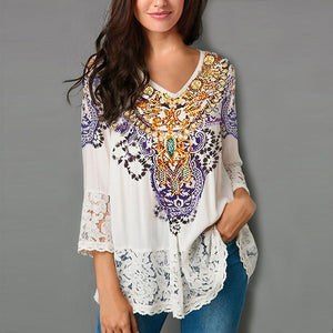 Women Three Quarter Lace Blouse