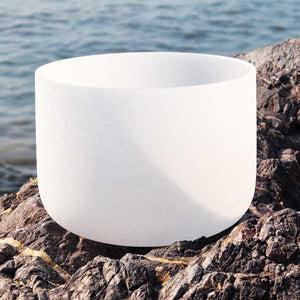 8 inch Frosted Quartz Crystal Singing Bowl Notes C/D/E/F/G/A/B + Rubber Stick Included