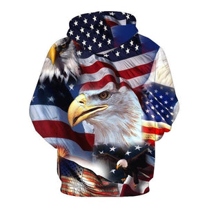 USA Flag with Eagle Hooded Sweatshirt up to 5XL